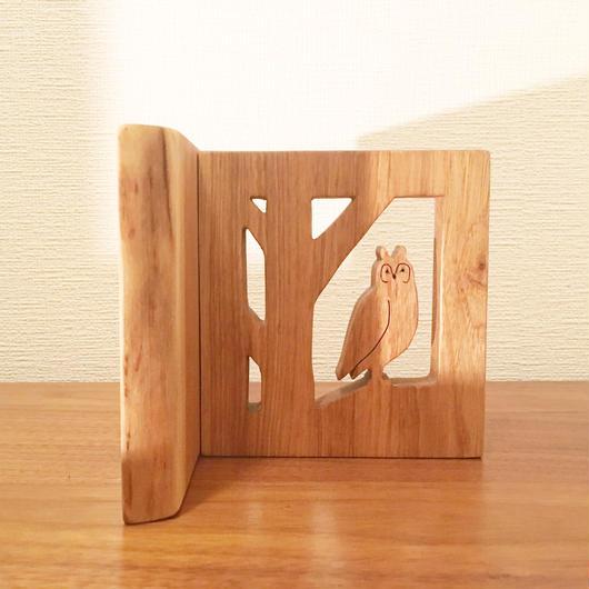「BIRD BOOK END(トラフズク/オニグルミ)」
