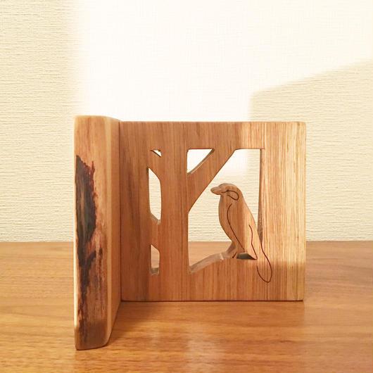 「BIRD BOOK END(オオモズ/オニグルミ)」