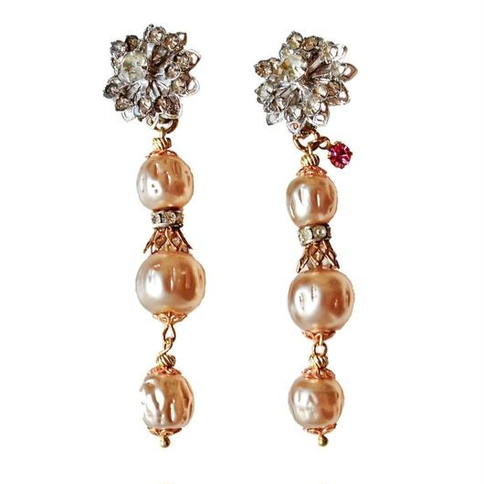Perles Baroques イヤリング Flower rhinestone & baroque pearl earrings PEER02