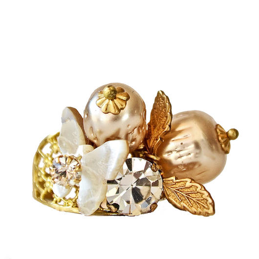 Perles Baroques リング Baroque pearl, MOP butterfly  statement ring PBRG01