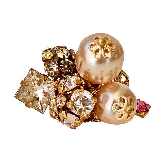 Perles Baroques リング Baroque pearl, Victorian rhinestone button statement ring PBRG02