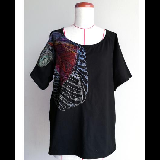 【手刺繍】katayoroi(肩鎧)・ラグランスリーブTシャツ・天竺編み