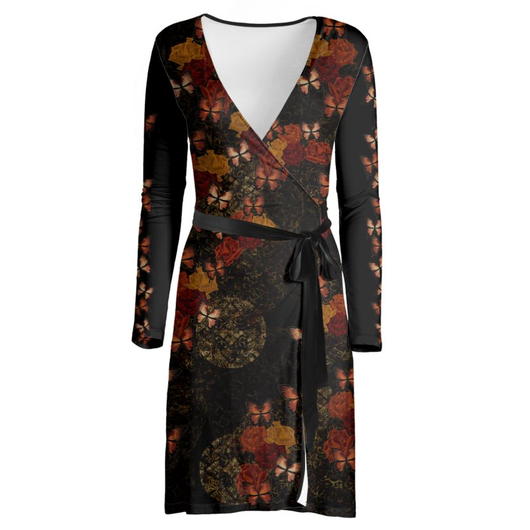 Japanesque Rose and Butterfly Wrap Dress