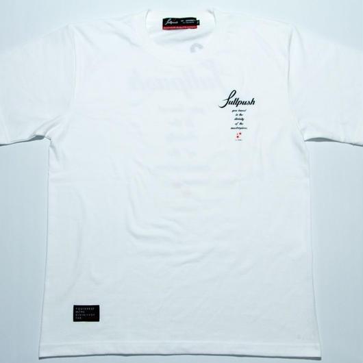 """Full Push """" Script Star T-shirt """"  White body."""