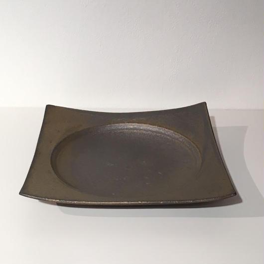 銅彩釉角皿(中)「作家 水野幸一」