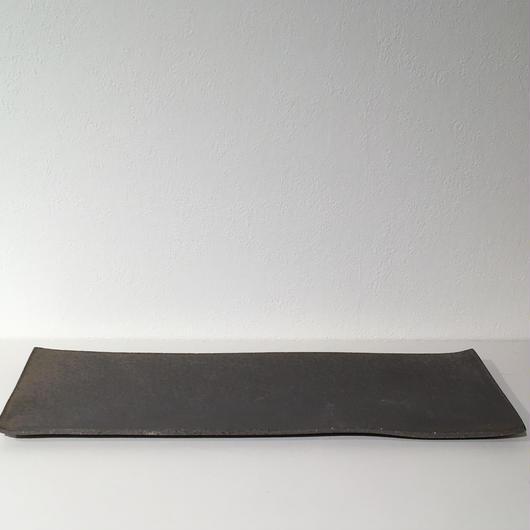 銅彩釉角長皿(大)「作家 水野幸一」
