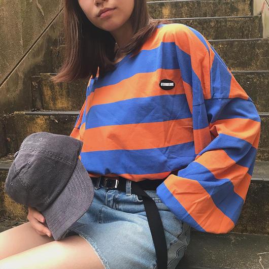 balloon sleeve orange border T