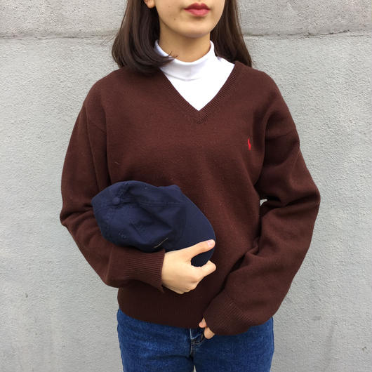 Polo brown one point v-neck knit