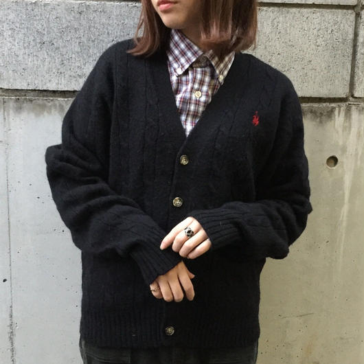 Polo black one point cardigan