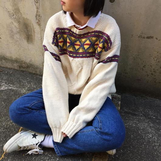 Ivory front pattern knit