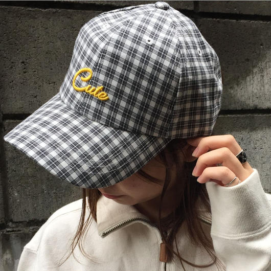 check logo baseball cap(white)