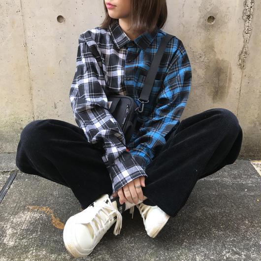 2color pocket check shirt(blue)