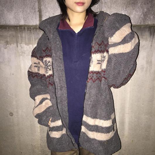 Gray pattern high neck fleece