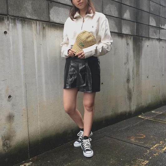 fake leather culotte skirt(black)