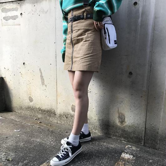 front zip chino  belt skirt