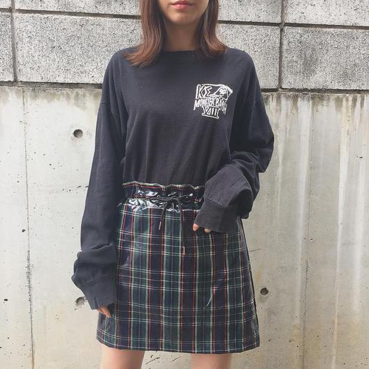 check enamel mini skirt