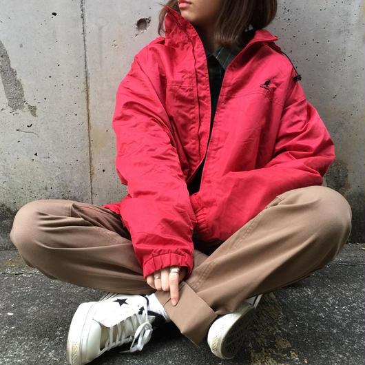 Kangol red nylon long jacket