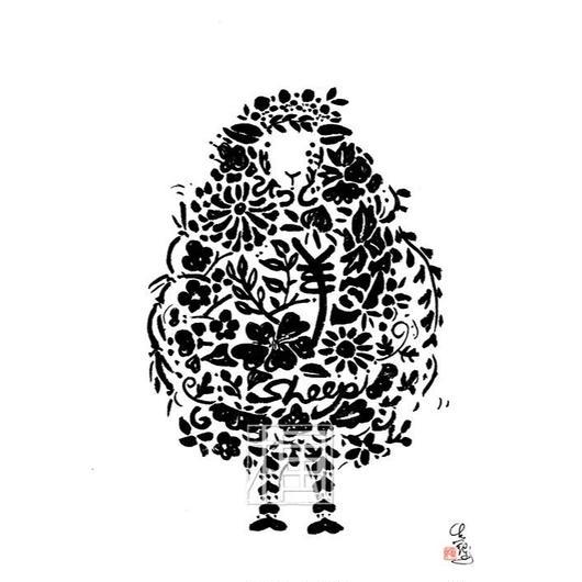 Sheep ヒツジの墨絵