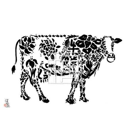 Cow ウシの墨絵