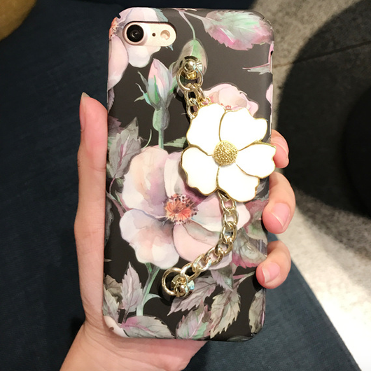 【在庫あり】春★シックなフラワープリント&チャーム付 iphoneケース