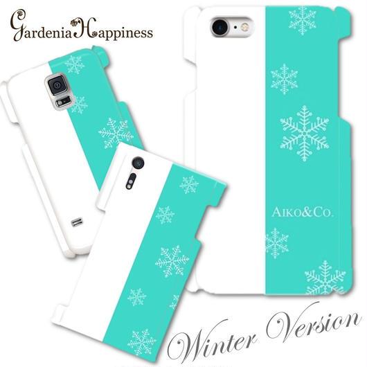 【秋冬限定】スマホケースAICA-102 エレガントブルー Winter Version 雪の結晶  大きいサイズiPhone6Plus/6sPlus他