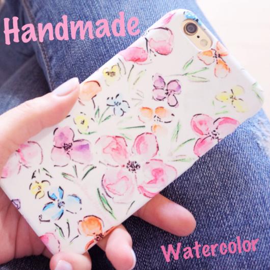 スマホケース AICA-21 水彩柄の花柄 iPhone6Plus/6sPlus他機種