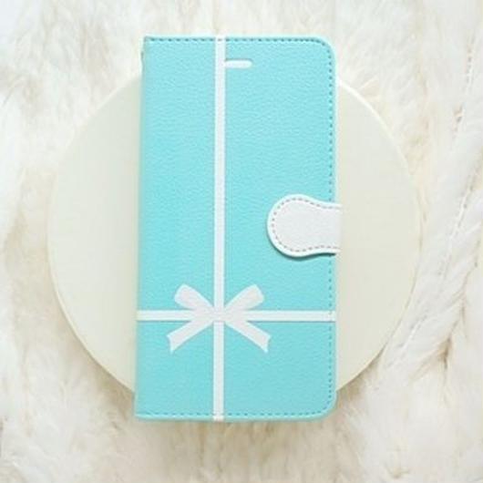 手帳型スマホケース AICA-75 エレガントブルー クロスリボン 普通サイズiPhone/Android S/M