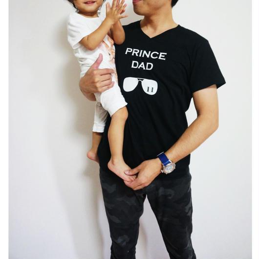 DADDY'S メンズVネックTシャツ(サングラス)文字ホワイト