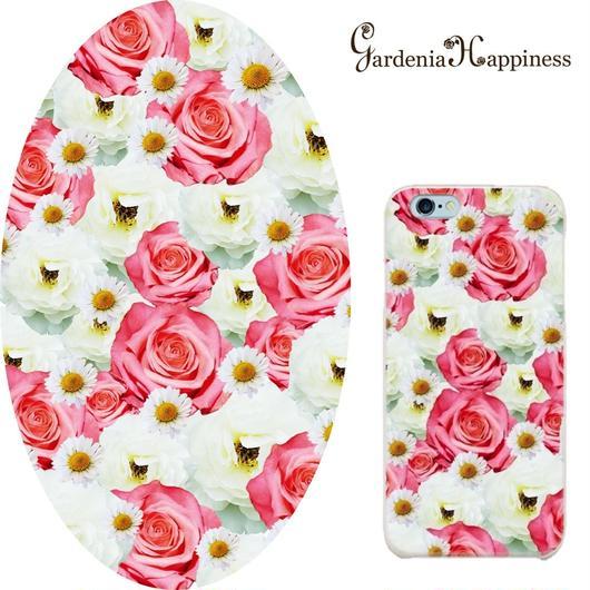 スマホケースAICA-43 フェアリーローズ×マーガレット Pink iPhone6Plus/6sPlus、Xperia Z5 Premium(SO-03H)、ARROWS NX(F-02H)