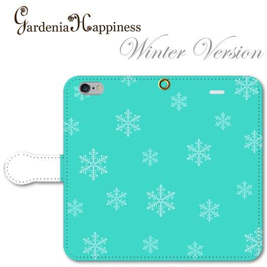 【秋冬限定】手帳型スマホケース AICA-104 エレガントブルー 雪の結晶 大きいサイズiPhone/Android L