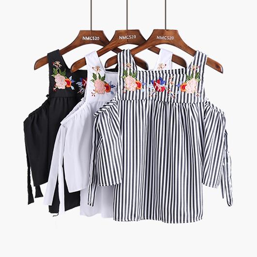 【完売】選べる6Color刺繍オフショルダーコットントップス