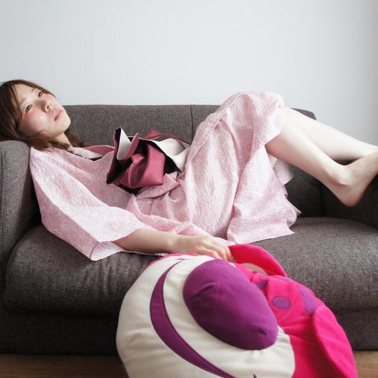 10秒で着れる浴衣 & 帯2点セット D/#Flower C/#ピンク