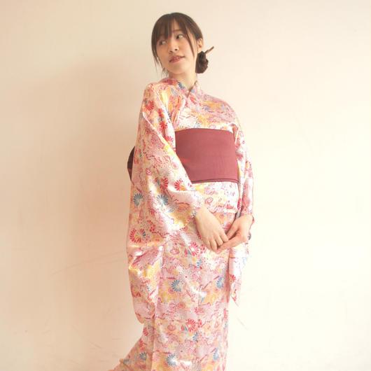 和の可愛らしさで女度を格上げ〜10秒で着れる着物& リバーシブル帯 2点セット/リキッドモダンマム/ピンク〜