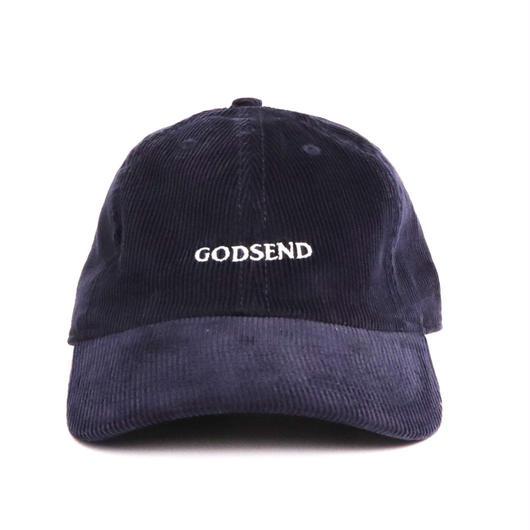 6パネル  コーデュロイ  GODSENDロゴ刺繍  CAP  NVY