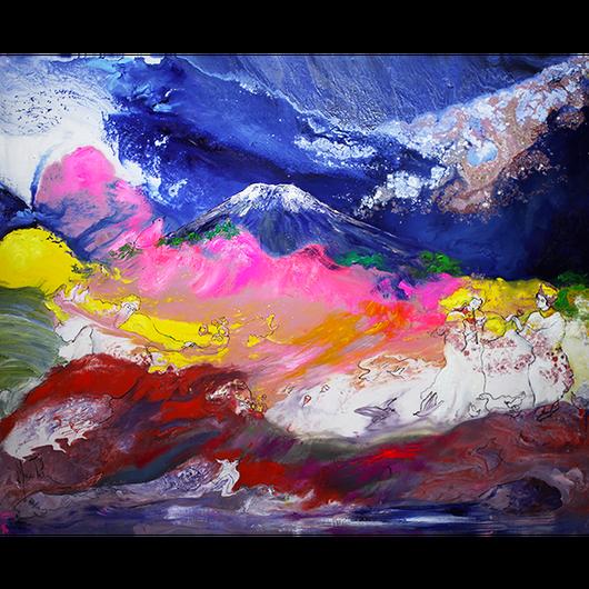 富士山から広がる愛と平和(ジクレー版画)