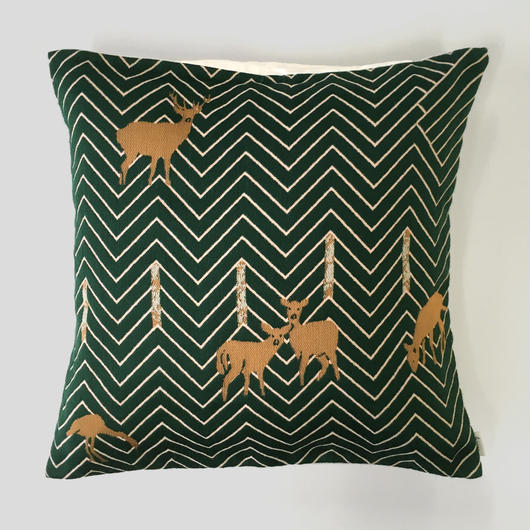 (no pattern backside) snip snap SATOYAMA cushion cover | deer green裏面無地