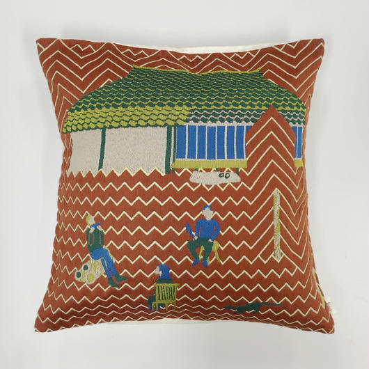 (no pattern backside) snip snap SATOYAMA cushion cover | weasel red裏面無地