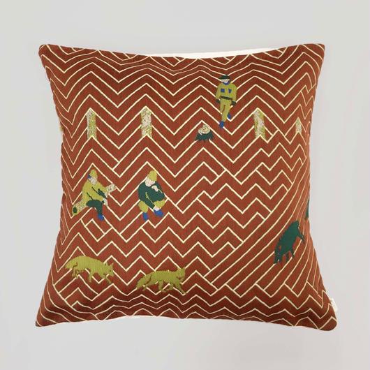 (no pattern backside) snip snap SATOYAMA cushion cover | fox red裏面無地