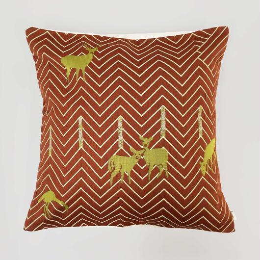 (no pattern backside) snip snap SATOYAMA cushion cover | deer red裏面無地
