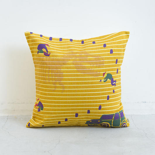 (no pattern backside) snip snap HAKKUTSU cushion cover | tyrannosaurus 裏面無地