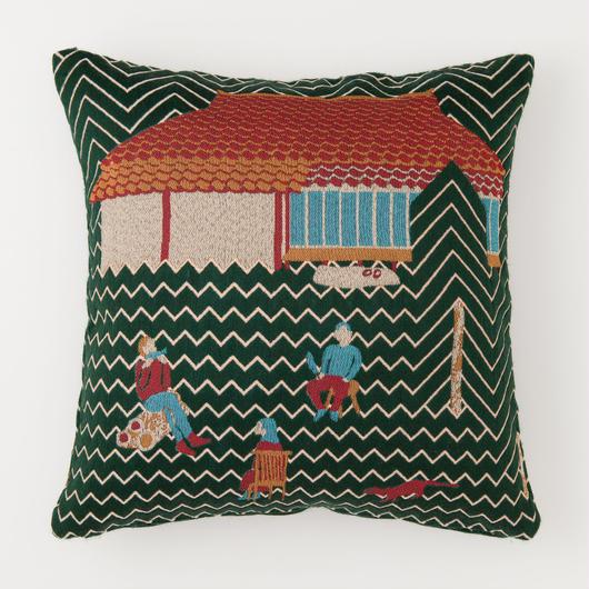 snip snap SATOYAMA cushion cover | weasel green