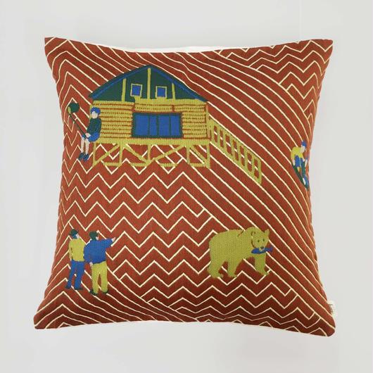 (no pattern backside) snip snap SATOYAMA cushion cover | bear red裏面無地