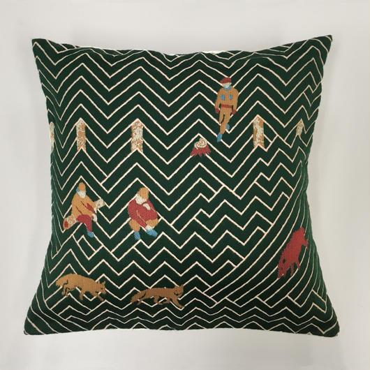 (no pattern backside) snip snap SATOYAMA cushion cover | fox green裏面無地