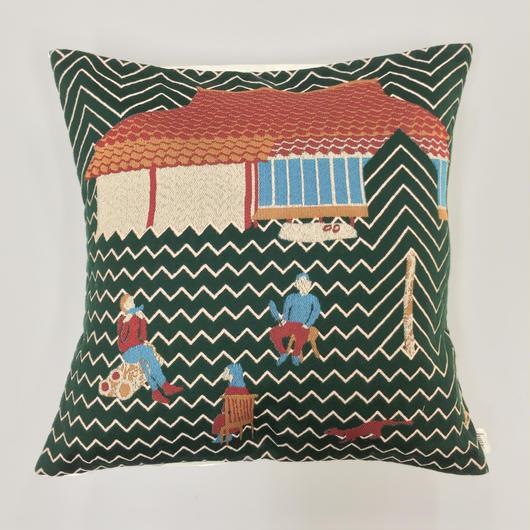 (no pattern backside) snip snap SATOYAMA cushion cover | weasel green裏面無地