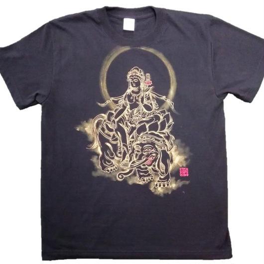 T-shirts men Fugen bosatsu black Buddhist Japanese sumi-e Art