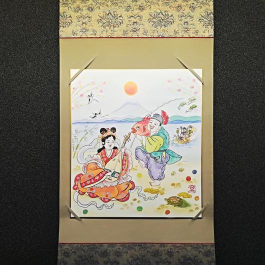 Benzaiten and Ebisu hanging scroll shikishi paper