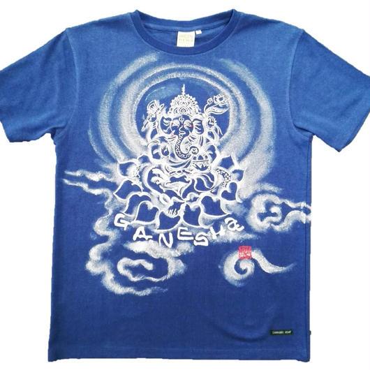 Hemp T-shirts Ganesha FRONT Japanese sumi-e art Blue