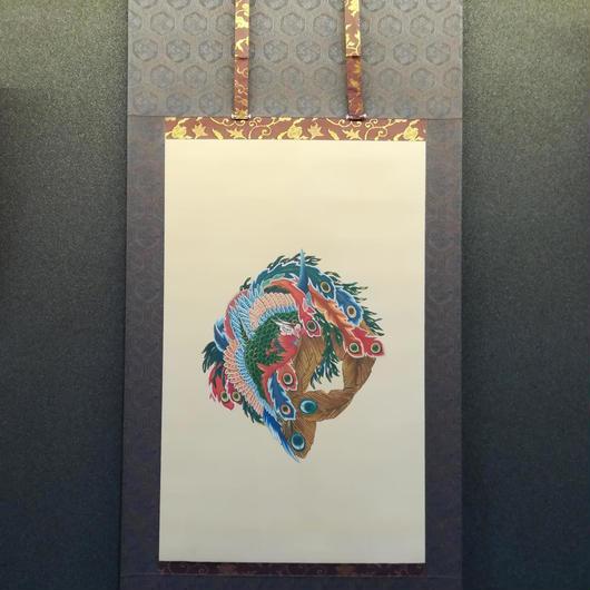Phoenix of Hokusai hanging scroll