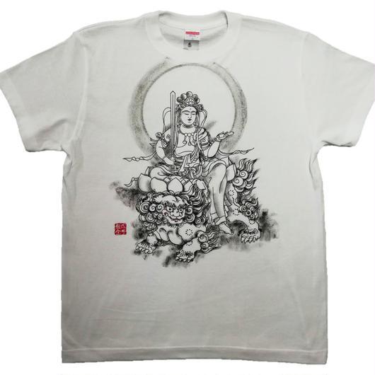 T-shirts men Monju bosatsu white Buddhist Japanese sumi-e Art