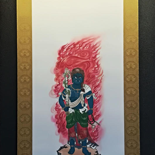 Fudo Myo-O Blue hanging scroll